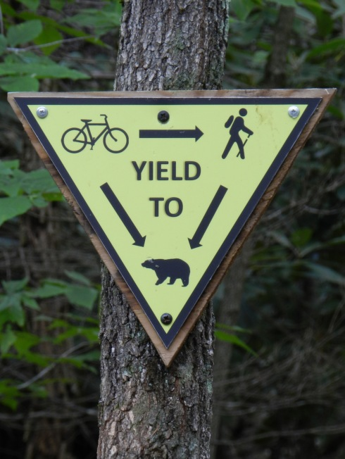Photograph of a sign indicating cyclist must yield to hikers and hikers must yield to bears