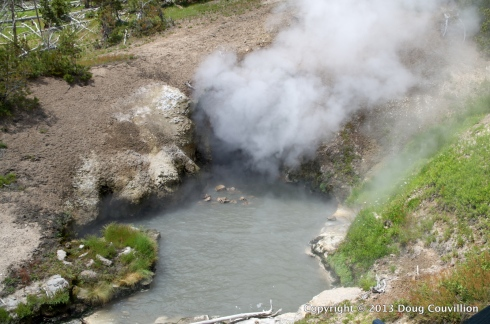 photograph of the Dragon's Mouth steam vent in Yellowstone National Park
