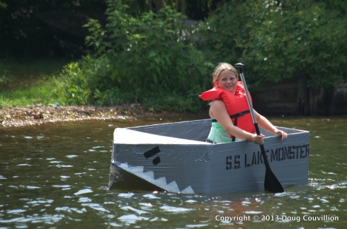 photograph of the cardboard boat S.S. Lake Monster in the 2013 Lake Of The Woods Cardboard Boat Regatta