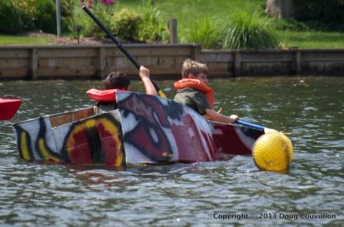 photograph of the cardboard boat Smaug in the 2013 Lake Of The Woods Cardboard Boat Regatta