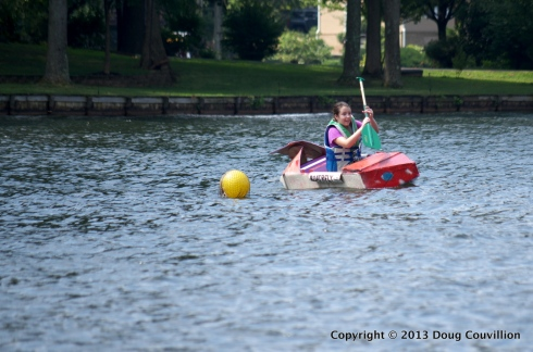 photograph of the cardboard boat Boatrfly in the 2013 Lake Of The Woods Cardboard Boat Regatta