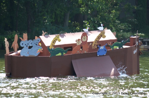 photograph of the cardboard boat Noah's Arc in the 2013 Lake Of The Woods Cardboard Boat Regatta