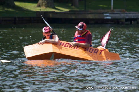 photograph of the cardboard boat Hokie Boat in the 2013 Lake Of The Woods Cardboard Boat Regatta