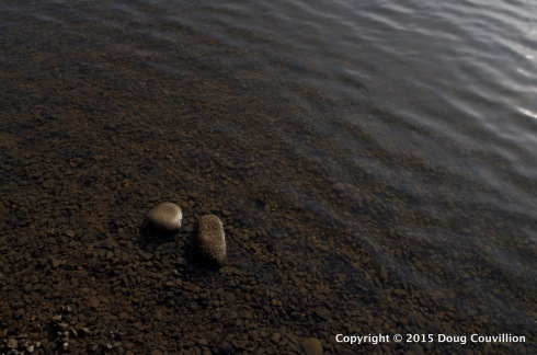 photograph of ripples and rocks in the James River near Richmond, VA