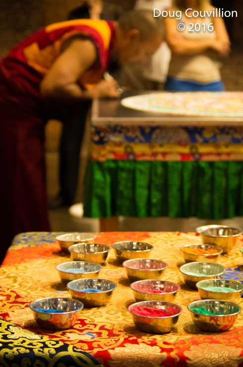 photograph of the colored sand used by Tibetan monks to make a Mandala