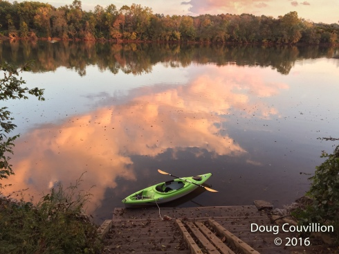 Photography by Doug Couvillion of clouds reflected on the James River at Huguenot Flatwater